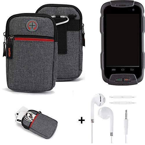 K-S-Trade® Gürtel-Tasche + Kopfhörer Für -Cyrus CS 23- Handy-Tasche Schutz-hülle Grau Zusatzfächer 1x