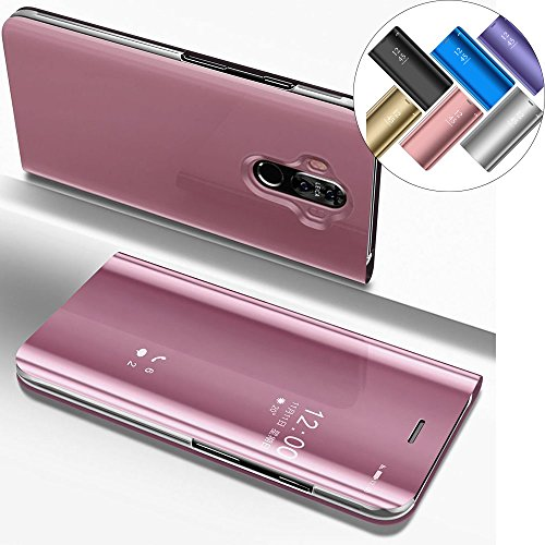 EMAXELERS Funda Huawei Mate 10 Lite Espejo Caja de Maquillaje con Marco de Cuero de la PU Flip Protectora de Cuerpo Completo para Huawei Mate 10 Lite Mirror PU : Rose Gold