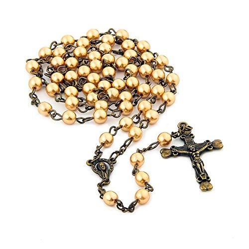 DADATU Joyería Católica De La Oración 6 Mm Rosario Perla