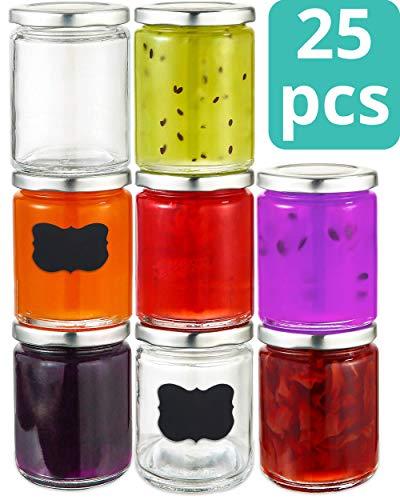 Praknu 25 Marmeladengläser 230 ml mit Deckel, Etiketten - Luftdichte Einmachgläser zum Einkochen & Konservieren