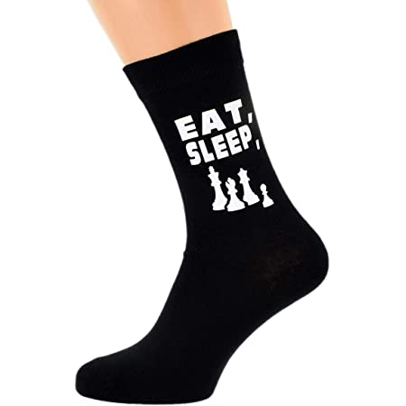 Eat Sleep Playing Chess with Chess Pieces Image Design Mens Black Cotton Rich Socks