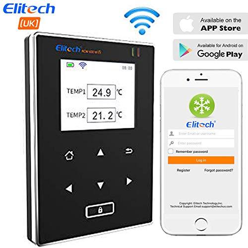 Elitech RCW-600 Wifi-Temperaturdatenlogger, drahtloser Fernmonitor, zwei Temperatursensoren, Warnungen und historische Daten, mobile Apps, Cloud-Management, Benachrichtigungs-Push