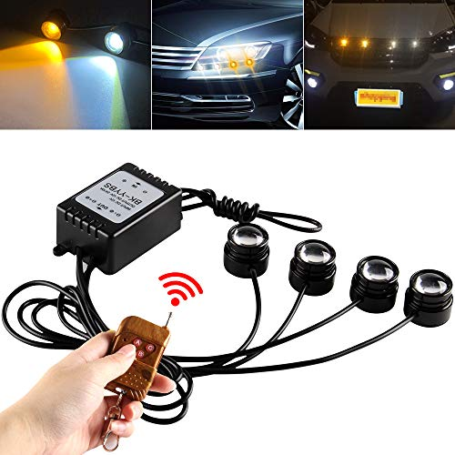 Teguangmei 4 in 1 Auto Moto LED Eagle Eye Luci Stroboscopiche di Emergenza DRL Flash Wireless Telecomando Luci Ambra Bianco 12V