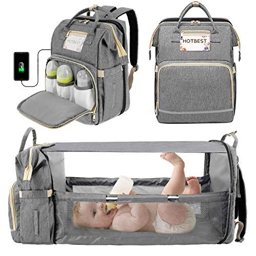 3 in 1 Diaper Bag Backpack for Girls Boys, Portable Mommy Bag with USB...