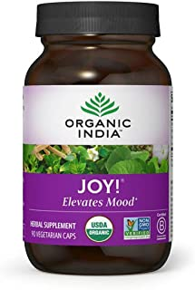 Organic India Joy! Herbal Supplement - Elevates Mood, Immune Support, Promotes Memory & Concentration, Vegan, Gluten-Free,...