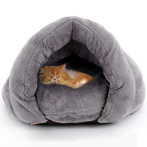 YUESFZ Cat hond Bed Liners Matten Semi-ingesloten hond/kat slaapzak, zacht en comfortabel kat en hond matras, duurzaam en draagbaar kat hond pad, verwijderbaar en wasbaar, 50 * 50 * 36cm, Grijs
