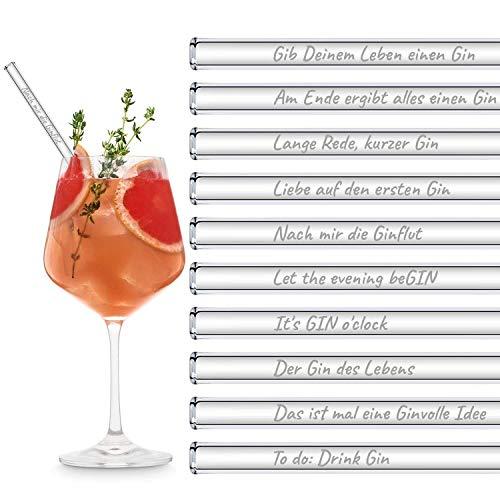 HALM Glasstrohhalme Gin Sprüche Edition XL Party-Pack 20 Stück 20cm lang mit gravierten Gin-Sprüchen in Deutsch Strohhalm Trinkhalm Glasstrohalm Gin-Tonic Geschenk
