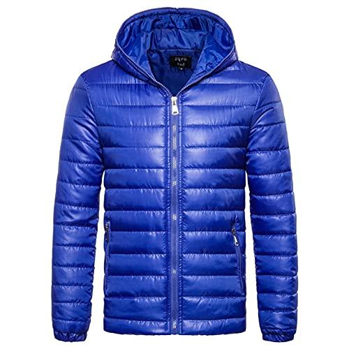 RYTEJFES Chaqueta acolchada para hombre con capucha de plumón, ligera, para exteriores, con capucha, con cremallera, de algodón cálido, azul, XL