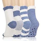 QKURT 4 paia Calze da Pantofole Donna Antiscivolo Termiche Calzini, Calzini Donna Divertenti calzini caldi invernali, calzini da pavimento in pile di corallo, morbidi calzini da letto sfocati