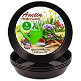 14 inch Case of 5 Austin Planter Black Polypropylene for Indoor and Outdoor Plant use, Made in USA, Flower Pot Saucer, Planter Drainage Saucer(12.14 inchbase Dia.)
