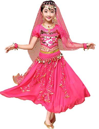 Sari indio de Bollywood, vestido oriental, disfraz de Halloween o carnaval, de Astage, color Hotpink, tamaño L Fits 12-13 years