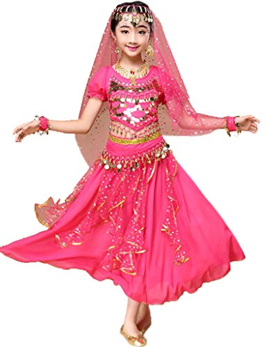 Astage Niña Traje Danza del Vientre Lentejuelas Danza India Halloween Disfraz Rosa Oscura L