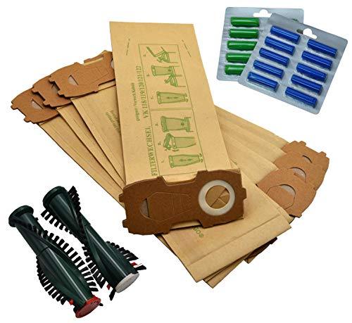 FSProdukte - 20 bolsas de aspiradora con franela extrafuerte, 20 fragancias, EB340/350, cepillos de repuesto adecuados para Vorwerk Kobold 118 119 120 121 122 con ET340 / EB350