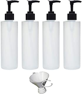 Earth's Essentials Four Pack of Refillable 8 Oz. HDPE Plastic Pump Bottles with Patented Screw On Funnel-Great for Dispens...