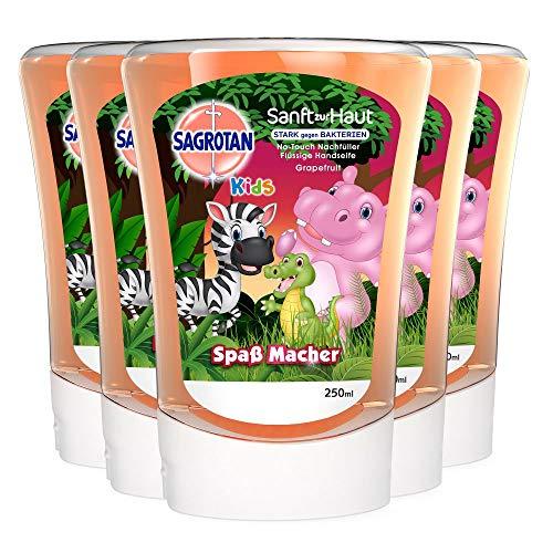 Sagrotan No-Touch Kids Nachfüller Grapefruit – Paw Patrol Edition – Für den automatischen Seifenspender – 5 x 250 ml Handseife im praktischen Vorteilspack