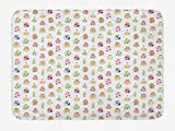 ABAKUHAUS Cocina Tapete para Baño, Verduras berenjenas Zanahorias, Decorativo de Felpa Estampada con Dorso Antideslizante, 45 cm x 75 cm, Multicolor