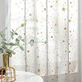 jinchan Rod Pocket Window Curtains for Girls Bedroom Starry Night Cute Twinkle Star Faux Linen Textured Drapes for Living Room Set 2 Panels 84 Inches Dove Grey