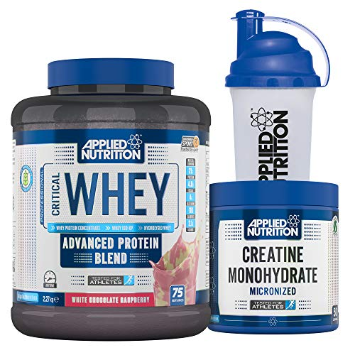 Applied Nutrition Bundle Critical Whey Protein Powder 2.27kg + Creatine Monohydrate 250g + 700ml Shaker | Gold Standard Muscle Building with Glutamine, Amino Acids, BCAA (White Chocolate & Raspberry)