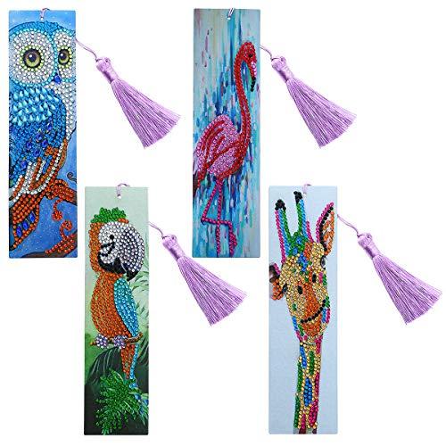 4pcs Diamond Painting Bookmarks- Handmade Beaded Bookmarks with Tassel 5D Owl Flamingo Parrot Giraffe Rhinestone Bookmarks for Kids Adults Beginner DIY Art Craft Set