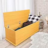 """KD ModySimble Wood Grain Storage Trunk Box, Modern Wood Chest with Lift Top, Organizer Bench for Entryway Bedroom Storage Room Home Furniture, 39""""x16""""x16"""""""