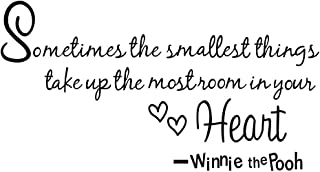 Boodecal Nursery Wall Decor Quotes Decals Winnie the Pooh Wall Art Sayings Sometimes the Smallest Things Take up the Most ...