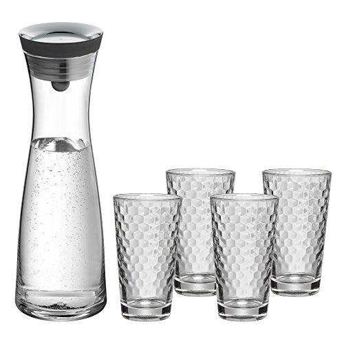 WMF Basic Gläser-Set, 5-teilig, Karaffe mit 4 Gläser 250 ml, Glaskaraffe mit CloseUp-Verschluss, Glas, Silikon, spülmaschinengeeignet