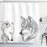 ABAKUHAUS Wolf Duschvorhang, Sketchy Portraits Wildtiere, mit 12 Ringe Set Wasserdicht Stielvoll Modern Farbfest und Schimmel Resistent, 175x200 cm, Orange Beige Grau