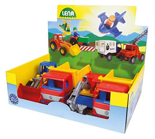 Lena 07254EC Profi Serie KIGA Set, Kindergarten Pack mit 4 Fahrzeugen, 4 Baufahrzeuge mit Stahlachsen, 3 Fach Sortiert, Muldenkipper, Bagger und Schaufellader, für Kinder ab 2 Jahren, ca. 23-27 cm