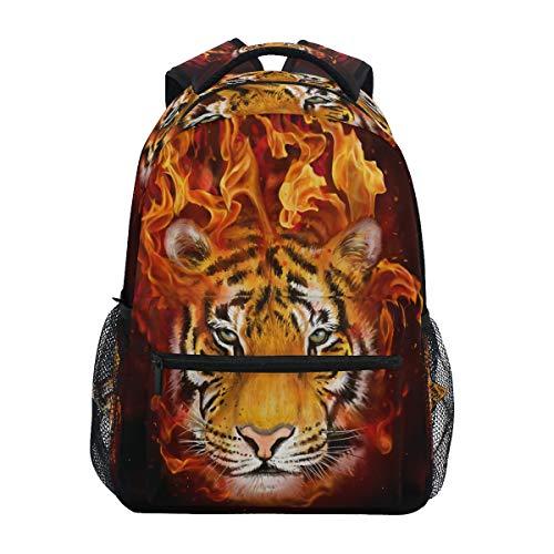 Luckyeah - Zaino da scuola con testa di tigre e fiamma, per bambini, ideale per viaggi, campeggio, palestra, escursionismo