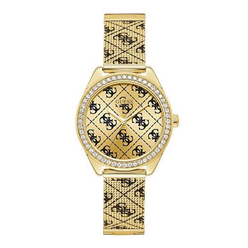 Guess Claudia - Armbanduhr - Quarzuhr - Damenuhr - Edelstahl - goldfarben - mit Steinen besetzt