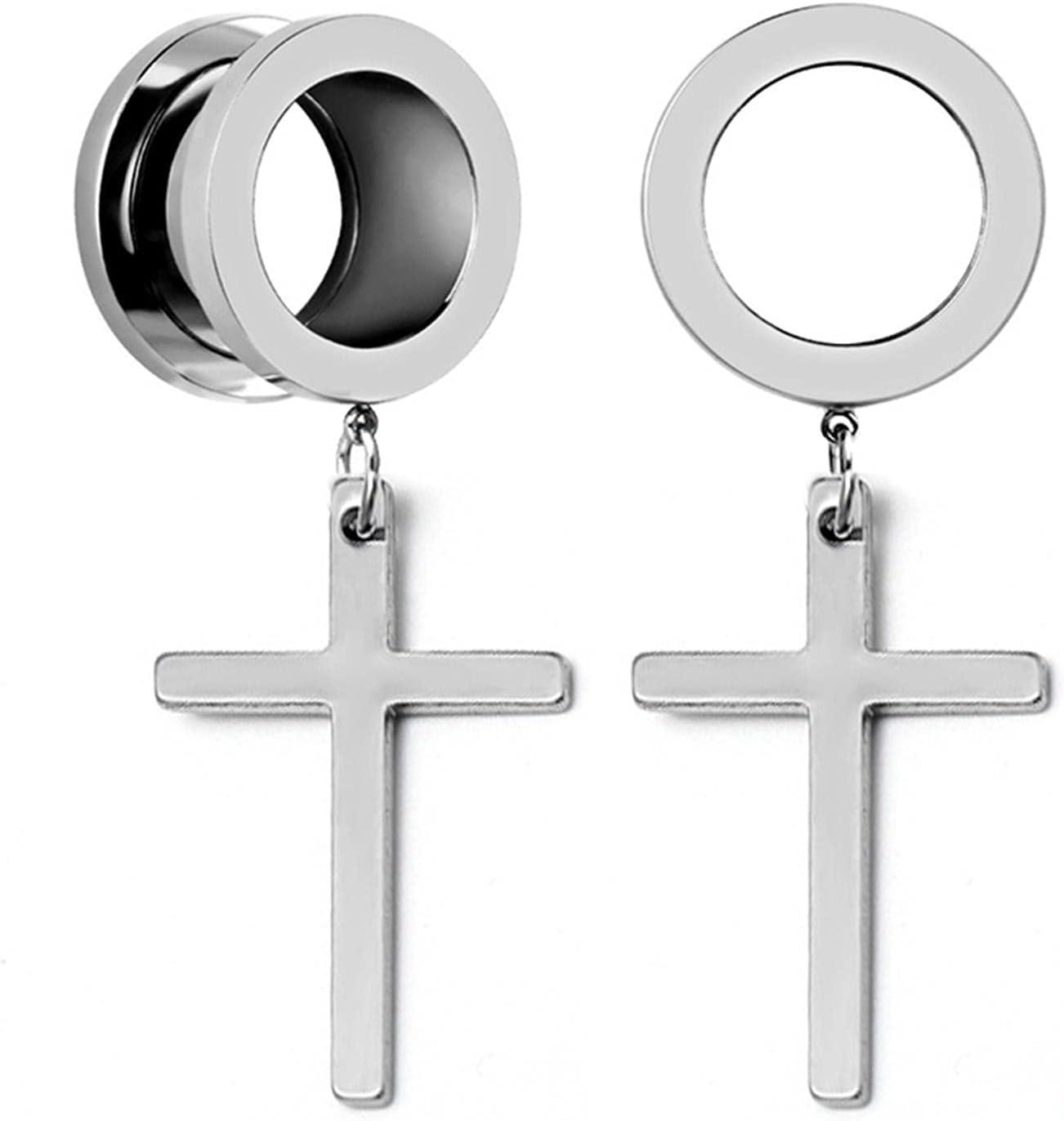 ALONG-J 2Pcs Ear Piercing Dangle Cross Ear Plugs and Tunnels Stainless Steel Oreja Dilatacions Ear Expander Punk Body Jewelry