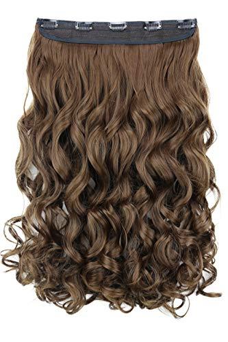 PRETTYSHOP 55cm Clip In Extensions Haarverlängerung Haarteil Voluminös Gewellt Braun C62-1