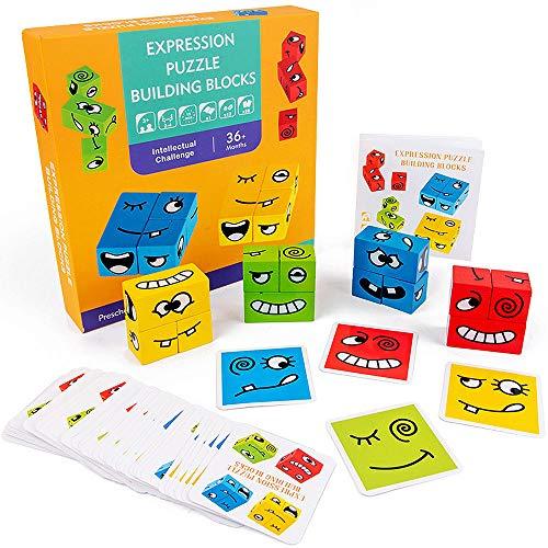 WELLXUNK Bloques Que Cambian La Cara,Cubos de Cambio de Cara de Juguete,Cubes Juego Juego De Cubos De Rompecabezas Emoji con 50 Tarjetas , Rompecabezas de Formas Coloridas, Juguete Educativo