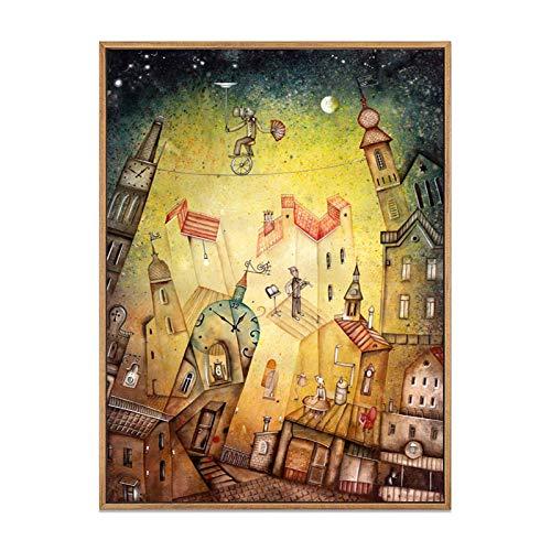 ganlanshu Cartel Abstracto de la Ciudad Retro Impresiones sueño Cuento de Hadas Estrella Arte de la Pared Dormitorio decoración del hogar,Pintura sin Marco,40X53cm