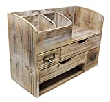 Executive Office Solutions Adjustable Wooden Office Desk Organizer for Desktop, Tabletop, or Counter – Wood Storage Shelf Rack – for Office Supplies, Desk Accessories, or Mail - Barnwood (WO13)