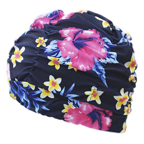 BienBien Donna Cuffie da Bagno con Fiori Moda Cuffia Nuoto Tessuto Protettiva da Bagno Cappello per Adulti Adolescente Popolare Disegno Goccia Grande Turbante Chemioterapia Estivo