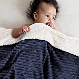 EMME Baby Blanket Fuzzy Sherpa Fleece Blanket Soft Reversible Warm Receiving Blankets for Toddler, Infant, Boys and Girls Gift Reversible Cozy Blanket for Crib, Stroller, Nap, Outdoor (Navy, 30'x40')