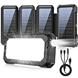 Solar Power Bank 26800mAh, Solar Charger 18W Fast Charging 4 Foldable Solar Panels, External Battery Backup with Camping...