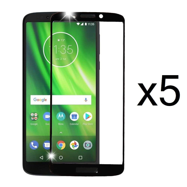 Bemz [5-Pack] Full Edge Coverage Tempered Glass Screen Protectors and Atom Cloth for Motorola Moto E5 (XT1920DL) - Black