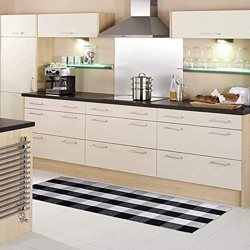 Ukeler Cotton Handmade Buffalo Checkered Kitchen Rugs Runner Washable Braided Kitchen Mat Black and White Plaid Runner Rug for Living Room/Bedroom 2'×6'