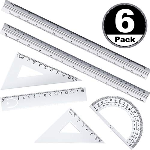 6 Pieces Architectural Scale Ruler, Engineering Scale and 12 Inch Metal Ruler Set, 12 Inch Triangular Engineering Scale Rulers, Laser-Etched Aluminum Drafting Tool for Blueprints