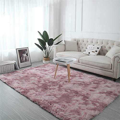 Troysinc - Alfombra de pelo largo, lavable, moderna, mullida, para salón o dormitorio, poliéster, rosa, 140 x 200 cm