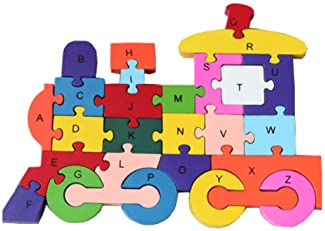 20 pieces Wooden Puzzles Jigsaw Toddler Kids Baby Child Educational Toys Train