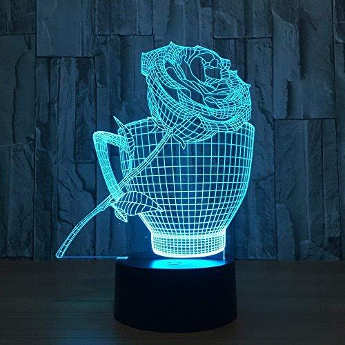 3D Illusion Nachtlicht 7 Farbe Led Vision Cups Rosen Kinder USB Tisch Baby schlafen süß niedlich bunt kreativ Geschenk Fernbedienung