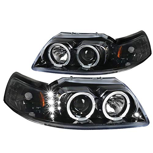 Spec-D Tuning Led + Dual Halo Projector Jet Black Headlights for 1999-2004 Ford Mustang Head Light Assembly Left + Right Pair