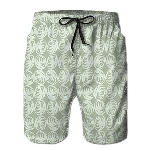 165 Mens Surf Fashion Swim Trunk Watershort Pants Dibujado a Mano Elegante Rose Bloom Seam XXL