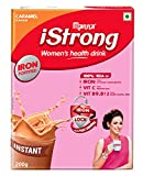 Manna i Strong 200g Iron Fortified Women's Health Drink Mix (Caramel)   Iron Supplement   Iron Lock Formula with Vit C, B9, B12   Improves Haemoglobin   Fights Anemia   Natural Multigrain Energy Drink