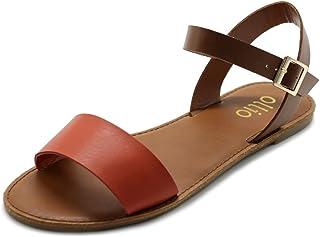 Ollio Women's Shoe Comfort Simple Basic Ankle Strap Flat Sandals