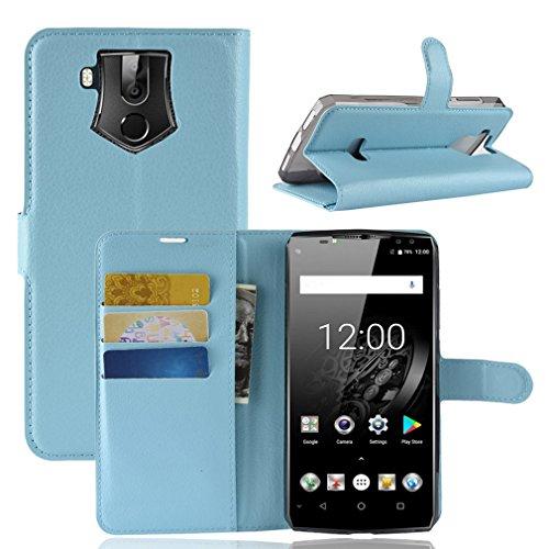 LMFULM® Hülle für Oukitel K10 (6,0 Zoll) PU Leder Magnet Brieftasche Lederhülle Litschi Muster Standfunktion Ledertasche Flip Cover für Oukitel K10 Blau