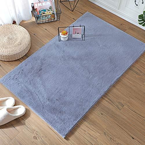 HEQUN Weicher Kunstkaninchenfell-Teppich|Kurzfell-Teppich Kunstfell Hasenfell Imitat | Lammfell-Teppich | Kunstfell Schaffell Imitat | Wohnzimmer Schlafzimmer Kinderzimmer (Grau, 80 x 180 cm)
